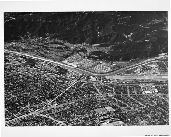Looking west across the Los Angeles River into Griffith Park at the future site of the Golden State Freeway (US-5) and the Foothill Freeway (CA-134)