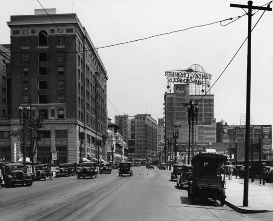 In Downtown Los Angeles facing north on South Broadway between Eleventh Street and Twelfth Street