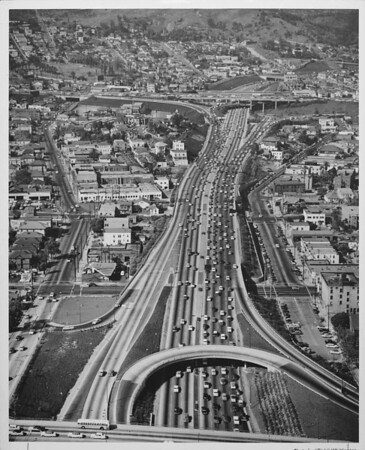Aerial view of Harbor Freeway facing north approaching the Hollywood Freeway
