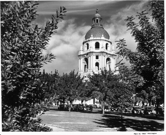 A view of the Pasadena City Hall fronted by many trees
