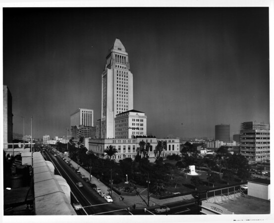 In the Civic Center in Downtown Los Angeles facing north to City Hall from Times Mirror Square