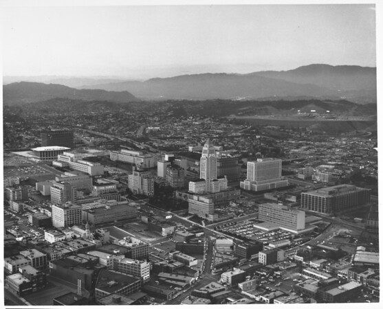 Aerial view of Civic Center, Music Center and Dodger Stadium to the north