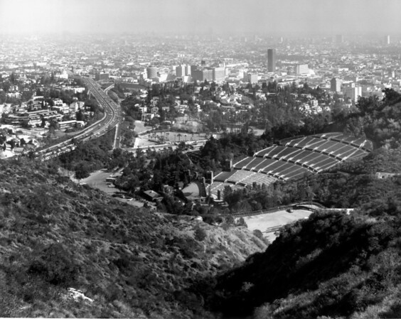 Looking over the Hollywood Bowl toward the I-101 Freeway and the city