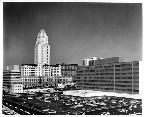 Facing south towards City Hall in the Civic Center of Downtown Los Angeles
