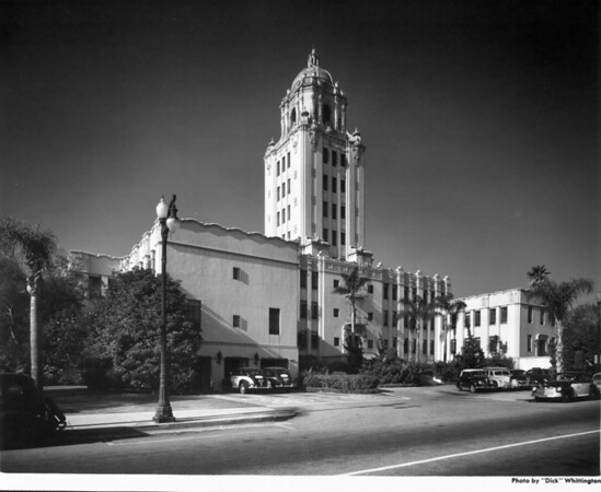 A low-angle view of the Beverly Hills City Hall