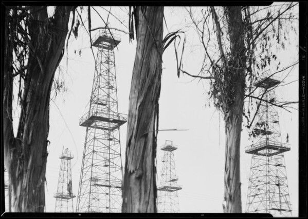Oil wells for book cover, Santa Fe springs, Southern California, 1930