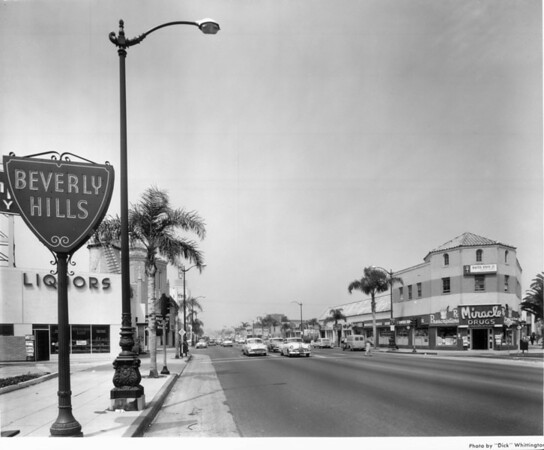Looking down Wilshire Boulevard from the San Vicente intersection which is where the Beverly Hills sign is located