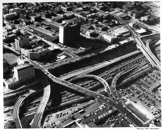 Aerial view of Union Building and intersection of Harbor Freeway (I-110) and Sixth Street exit
