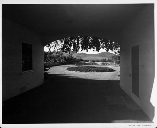 Exterior of residential home in 1948, landscaping