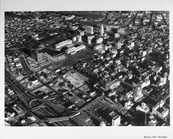 Aerial view of Downtown Los Angeles, Civic Center, Harbor Freeway (I-110), Los Angeles Music Center (under construction, Dorothy Chandler Pavillion (nearly completed))