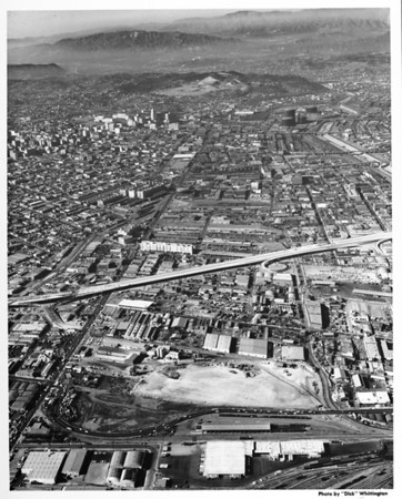 Aerial view of downtown Los Angeles looking north from Washington Boulevard and the Santa Monica Freeway