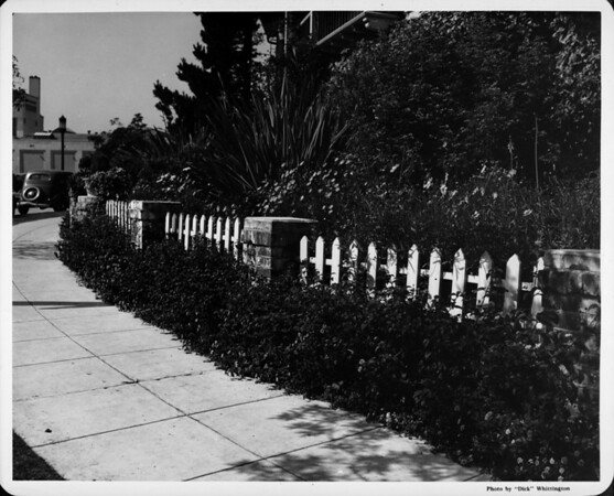 Residential home in 1948, residential home in Westwood, picket fence, sidewalk, landscaping