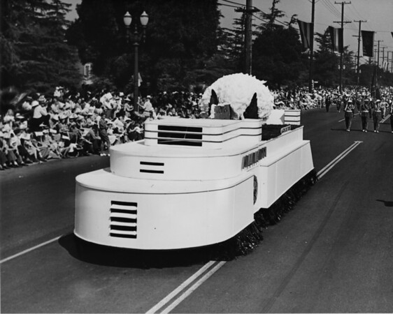 A white float in the American Legion Parade