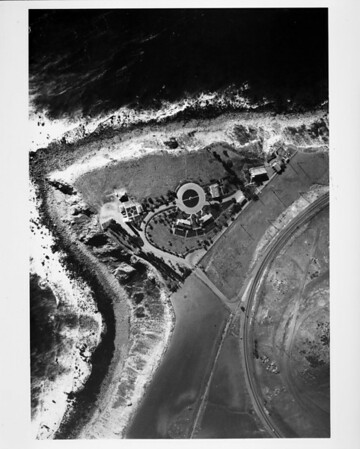 Aerial view of the (construction of) Point Vicente Light House at Point Vicente Park in Rancho Palos Verdes