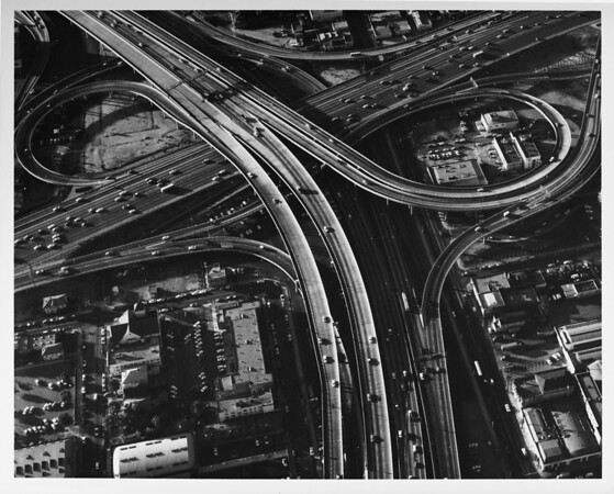Close aerial view of the I-10 and I-110 freeway interchange