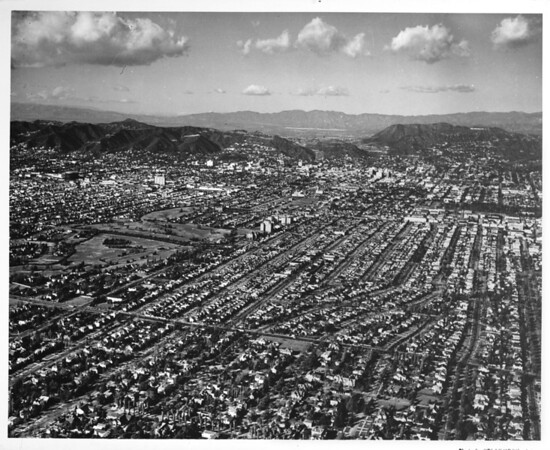 Aerial view looking northeast from Wilshire Boulevard