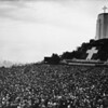 Easter Sunrise Services at the Forest Lawn Memorial Park with a crowd of thousands facing a huge cross