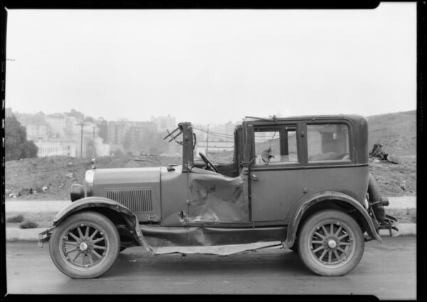 Wrecked Studebaker, Southern California, 1926
