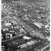 Aerial view looking north from exposition park on Figueroa Street through downtown Los Angeles