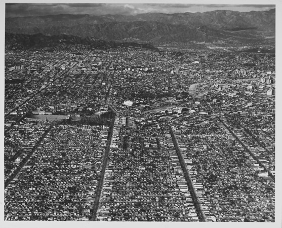 Aerial view metropolitan Los Angeles County, Sports Arena, Coliseum