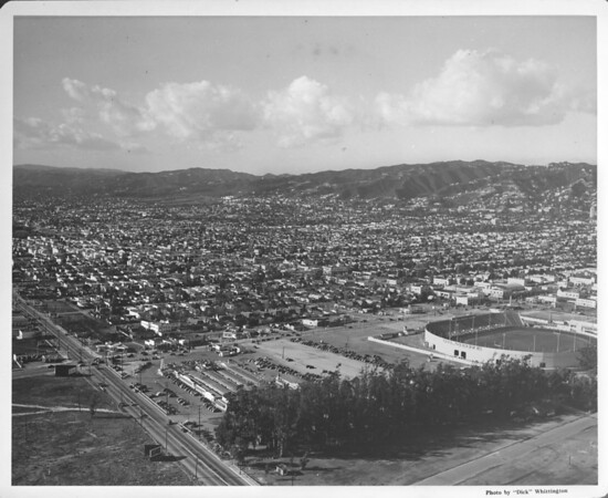 Aerial view of Gilmore Stadium, Los Angeles, ca.1938-1952