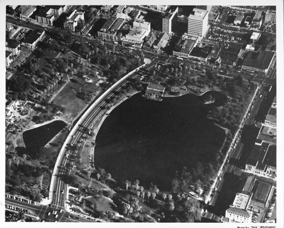 Aerial view of McArthur Park on Wilshire Boulevard