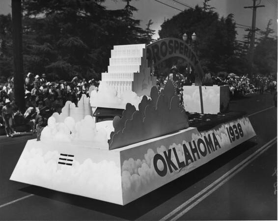 "American Legion parade, Long Beach, float for Oklahoma featuring ""Prosperity"""