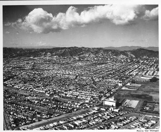 Aerial view looking northwest from Fairfax Avenue