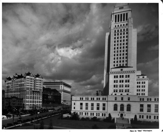 In the Civic Center in Downtown Los Angeles facing south in front of City Hall from First Street and Spring Street