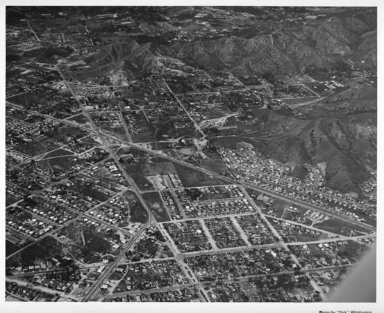 Aerial view of Sun Valley facing east/northeast over Glenoaks Boulevard, Sunland Boulevard, Clybourne Avenue, future corridor of the Golden State Freeway (I-5)