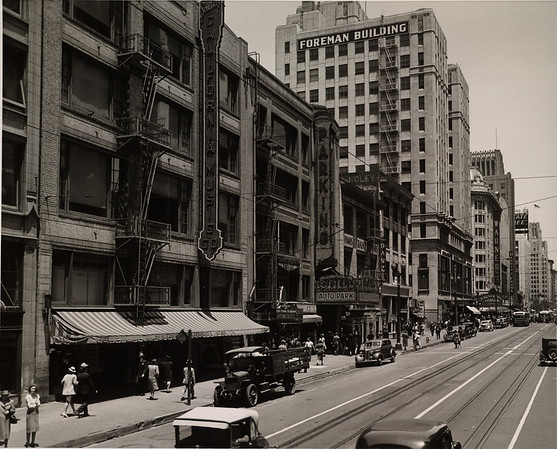 In Downtown Los Angeles facing north on South Hill Street between West Eighth Street and West Seventh Street