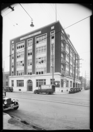 New Ford truck, building at 800 East Traction Avenue and Mr. Joannes, Southern California, 1932