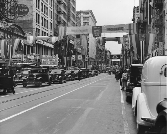Shriner's parade, downtown Los Angeles. Passing Arcade and Cameo movie theaters