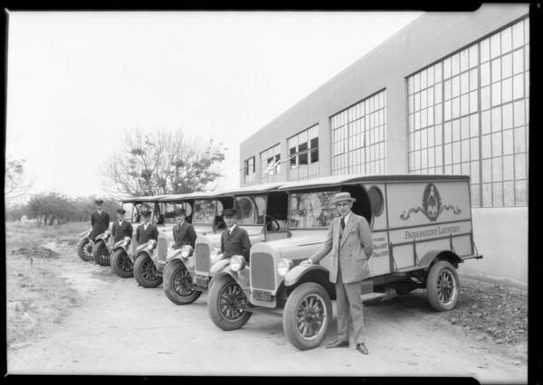 Paramount Laundry trucks, Southern California, 1925