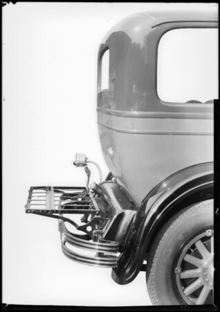 Folding trunk rack on Studebaker, Southern California, 1928