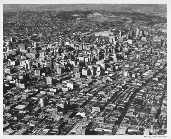 Aerial view downtown Los Angeles, Dodger Stadium, Harbor Freeway (I-110), Civic Center