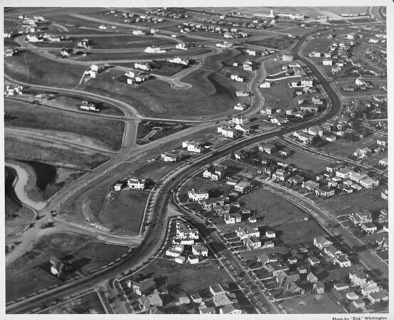 Aerial view, looking north east of what is now View Park over looking Angelus Vista Boulevard and Mullen and Olympiad Drive with Crenshaw Boulevard to the top