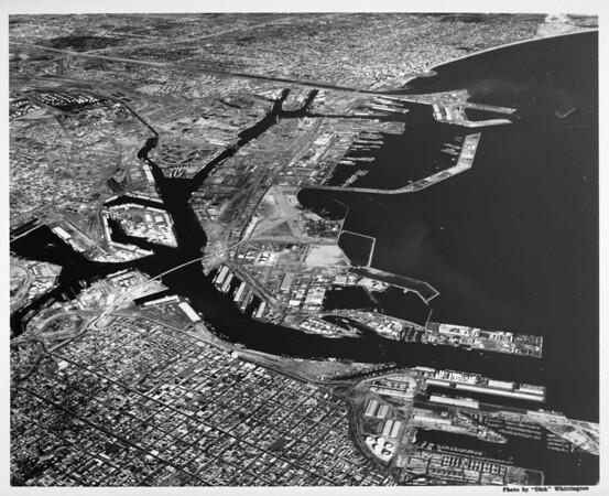 Aerial view of Los Angeles Harbor facing east, Terminal Island, San Pedro, Wilmington