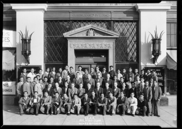 Large group in front of school, Southern California, 1930