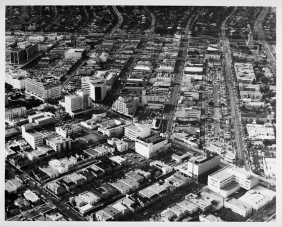 Aerial view facing north over Wilshire Boulevard and Beverly Drive in Beverly Hills