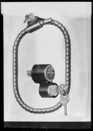 Tire lock, Associated Industries, Southern California, 1927
