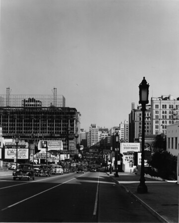 Looking east down Wilshire Boulevard towards Figueroa Street, Downtown Los Angeles
