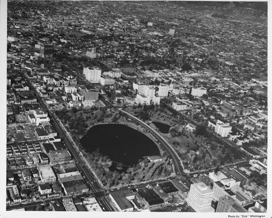 Aerial view, Westlake, MacArthur Park, Wilshire Boulevard, Alvarado Street