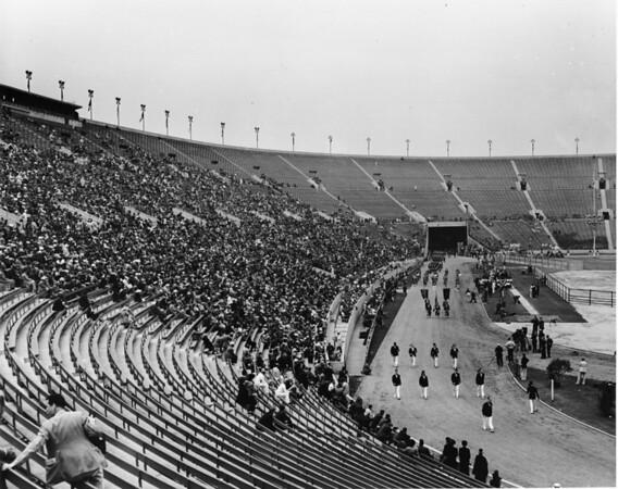 Shrine parade at Coliseum, long shot featuring stadium