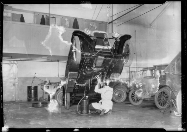 Grease gun at Spencer Kennelly's, Southern California, 1927