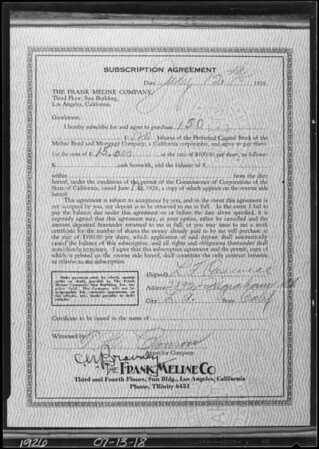 Copy of subscription agreement, Southern California, 1926