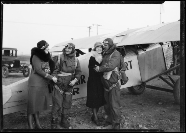 Arrival of Mr. Gillham at Pacific Airport, Southern California, 1926