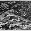 Aerial view facing north over the Beverly Hills Hilton Hotel at the corner of Wilshire Boulevard and Santa Monica Boulevards in Beverly Hills