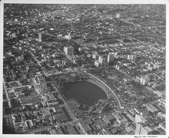Aerial view of MacArthur Park looking northwest