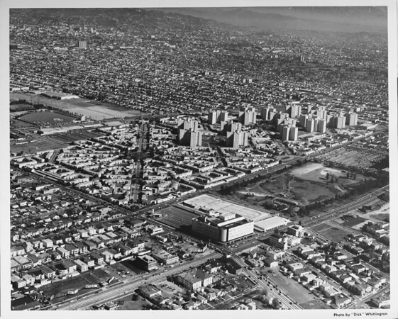 Aerial view, Miracle Mile, Park La Brea, Fairfax Avenue and Wilshire Boulevard